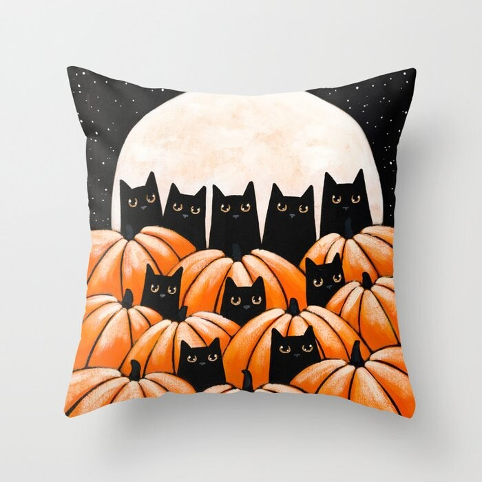 Black Cats In The Pumpkin Patch Pillow Covers And Insert
