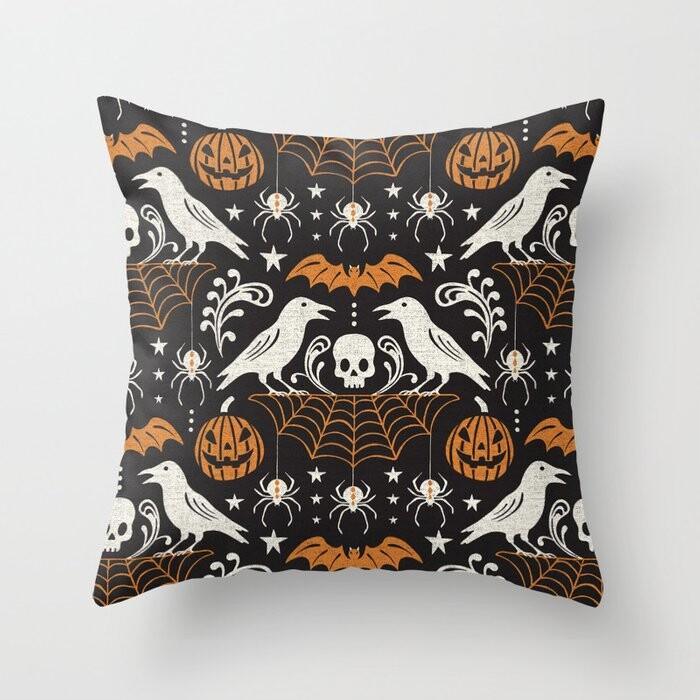 Black Orange Halloween Pillow Covers And Insert