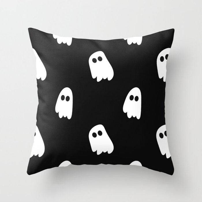 Black And White Ghosts Pillow Covers And Insert