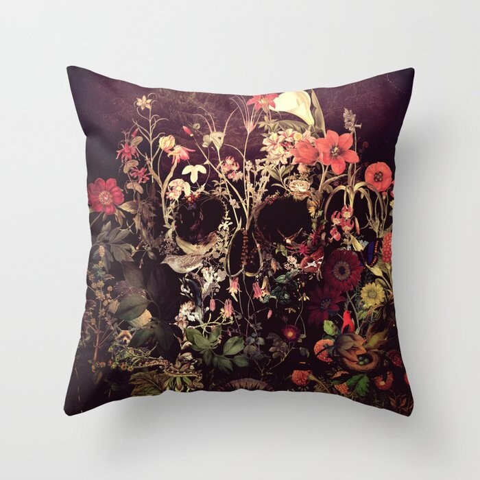 Bloom Skull Pillow Covers And Insert